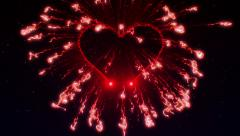Valentines day, heart bada boom at the starry sky Stock Footage