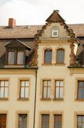 Germany yellow old house and sky  above. Stock Photos