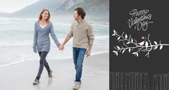 Composite image of couple holding hands and walking at beach - stock illustration