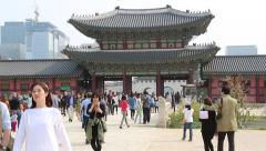 Asian Tourists Visiting Royal Palace in Seoul Stock Footage