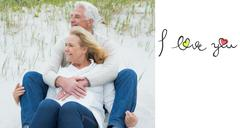 Stock Illustration of Composite image of romantic senior couple relaxing at beach