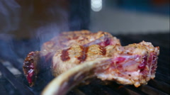 Fresh lamb chops, grilled over charcoal. Stock Footage