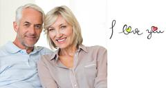 Composite image of smiling mature couple sitting on sofa with arm around Stock Illustration