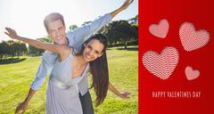 Stock Illustration of Composite image of happy couple with arms outstretched at park