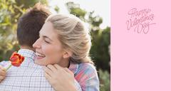 Stock Illustration of Composite image of smiling young couple embracing in park