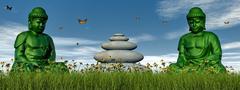 Green meditation - 3D render - stock illustration