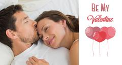 Composite image of relaxed couple sleeping together in bed - stock illustration