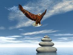 Peaceful eagle - 3D render - stock illustration