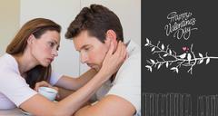 Composite image of woman consoling a sad man at home - stock illustration