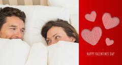 Composite image of relaxed couple lying together in bed - stock illustration