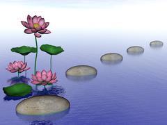 Zen lily flowers - 3D render Stock Illustration