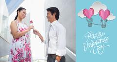Stock Illustration of Composite image of man offering a red rose to girlfriend