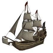 Smirking Mermaid, a Pirate Ship - 3D render Stock Illustration