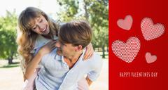 Composite image of man giving his pretty girlfriend a piggy back in the park - stock illustration