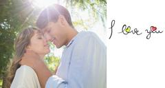 Composite image of cute couple hugging and smiling in the park Piirros