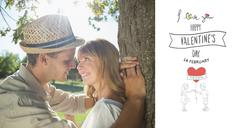 Stock Illustration of Composite image of cute smiling couple leaning against tree in the park