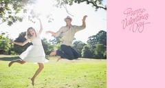 Stock Illustration of Composite image of cute couple jumping in the park together