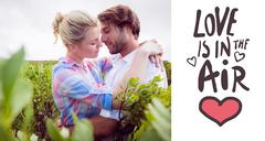 Composite image of smiling couple embracing outside among the bushes Stock Illustration