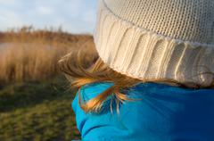 girl dressed for winter closeup - stock photo