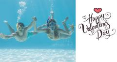 Composite image of cute couple underwater in the swimming pool with snorkel and Stock Illustration