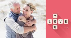 Stock Illustration of Composite image of happy hugging couple on the beach looking at each other