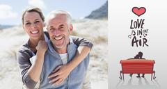 Stock Illustration of Composite image of happy hugging couple on the beach looking at camera