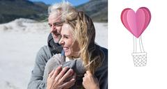 Stock Illustration of Composite image of carefree couple hugging on the beach in warm clothing