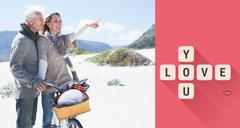Stock Illustration of Composite image of carefree couple going on a bike ride and picnic on the beach