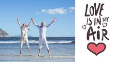 Stock Illustration of Composite image of happy couple jumping up barefoot on the beach