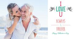 Stock Illustration of Composite image of man giving his smiling wife a piggy back at the beach
