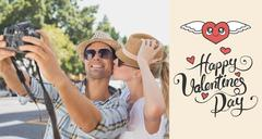 Stock Illustration of Composite image of young hip couple taking a selfie