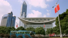 4K, UHD, Shanghai Grand Theater and Marriott Hotel in Shanghai, China Stock Footage