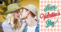 Composite image of hip young couple about to kiss Stock Illustration