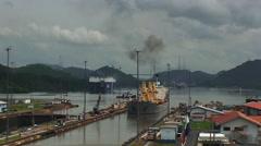 Panama Canal, total shot of two big ships waiting at Miraflores Locks Stock Footage