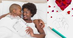 Composite image of happy couple lying in bed cuddling - stock illustration