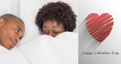 Composite image of happy couple lying in bed under the duvet - stock illustration