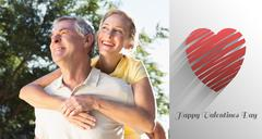 Stock Illustration of Composite image of happy senior man giving his partner a piggy back
