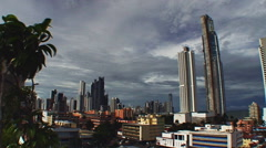 Total shot of Panama City´s modern skyline, cloudy sky Stock Footage