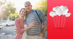 Composite image of happy mature couple hugging in the city - stock illustration