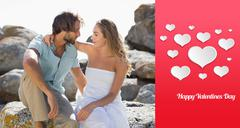 Composite image of gorgeous couple embracing at the coast Stock Illustration