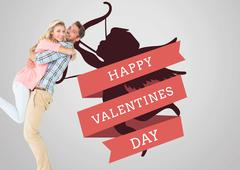 Stock Illustration of Composite image of handsome man picking up and hugging his girlfriend