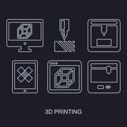 Printing icon set showing manufacturing printers, tablet and computer Piirros