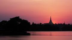 Shwedagon Pagoda sunset timelapse 4K Stock Footage
