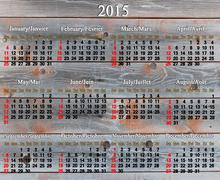 usual calendar for 2015 year on the wooden texture - stock illustration