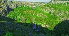 4K Manojlovac waterfall on Krka river Stock Footage