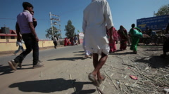 A very busy street in the middle of the day at Pushkar Camel Fair - stock footage