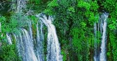 4K Top of the Manojlovac waterfall at Krka river Stock Footage