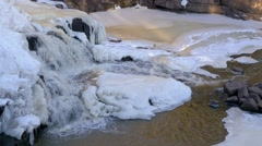 Gooseberry falls frozen during winter Stock Footage