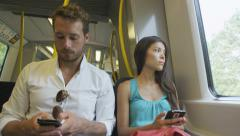Travelers using smartphones and 4g network phone Stock Footage
