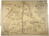 Map of the Battles of Bull Run Near Manassas Stock Photos